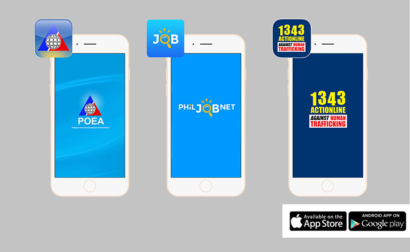 POEA, PhilJob.net and 1343 actionline mobile app