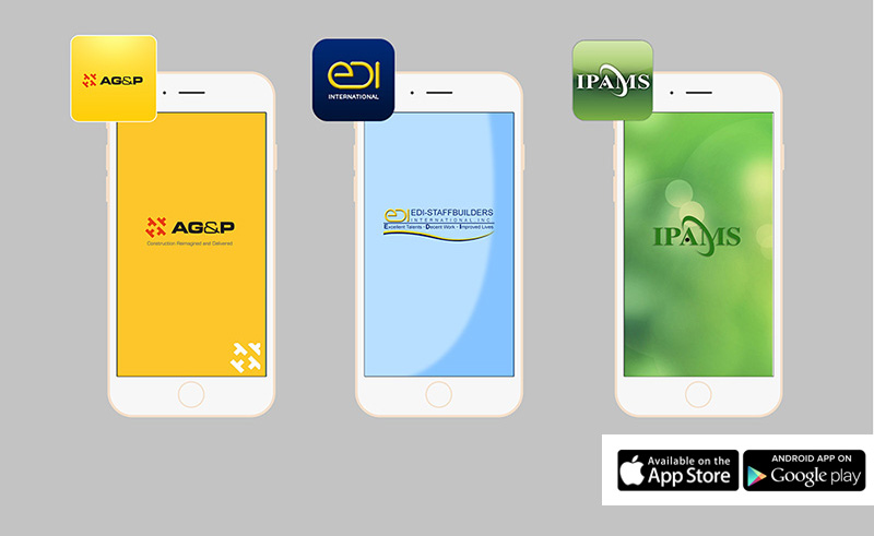 AG&P Mobile App, EDI International Builders Mobile App, IPAMS Mobile App